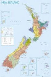 Mapa Nowej Zelandii - plakat