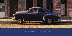 Havana, Cuba, Niebieski samochód - reprodukcja