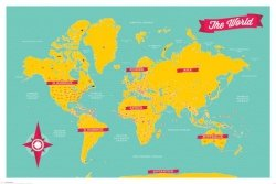 Mapa świata ang. - plakat