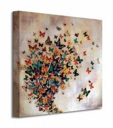 Obraz do salonu - Butterflies On Pale Ochre