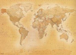 Fototapeta - Mapa świata - Styl Vintage - 315x232 cm