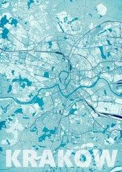 Plakat ścienny - Kraków - Błękitna mapa - 40x50 cm