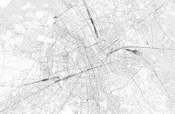 Fototapeta do salonu - Mapa Warszawy - czarno-biała