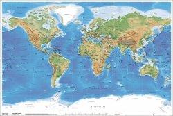 Mapa fizyczna świata (ang.) - plakat