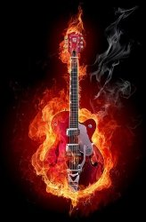 Fototapeta na ścianę - Ognista gitara - 115x175 cm