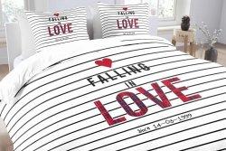 Pościel bawełniana -  Essara Love Stripes - 200x220 cm