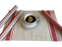 Podkładki na stół - Beżowe z czerwonymi paskami - Komplet 4szt