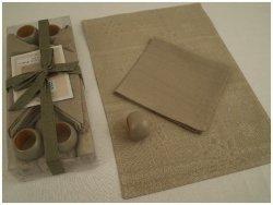 Podkładki na stół + Serwetki + Obrączki na serwetki x 4-szt - Śnieżka