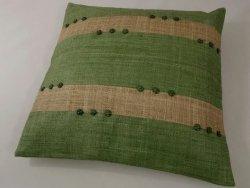 Poszewka na poduszkę - Zielona - Z rafii - 45x45cm
