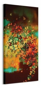 Butterflies on Burnt Umber - obraz na płótnie