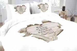 DUPLIKAT: Pościel bawełniana -  Essara Love Repeat - 200x220 cm