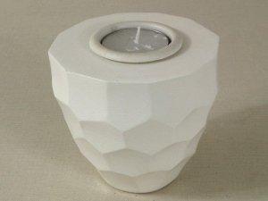 Świecznik - Biały - Drewniany - 10x9cm