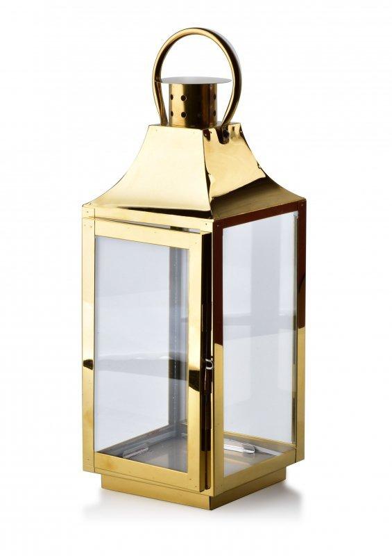 Latarenka metalowa - Lampion Złoty - 38cm - dekoracje domu - decoart24.pl