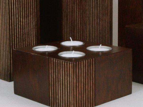 Świecznik - Kwadrat Mango - Drewniany - 14x14x8cm