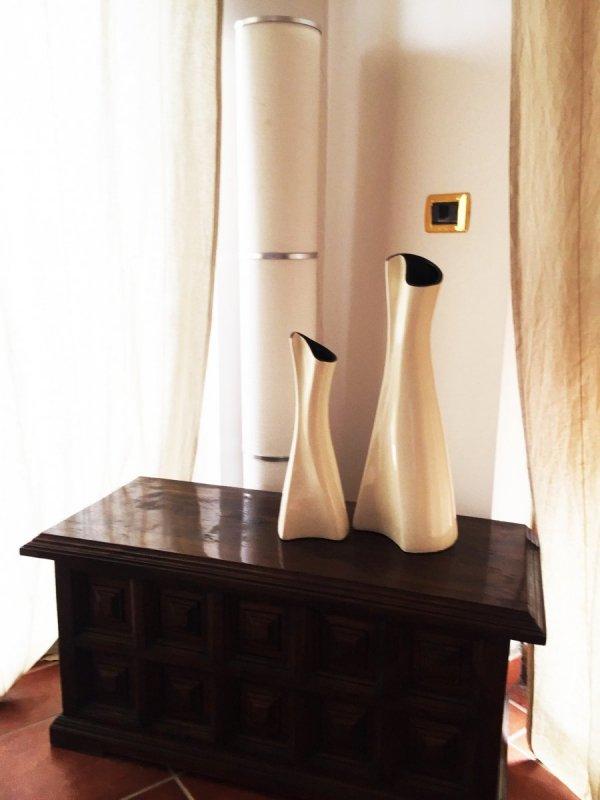 Wazon ceramiczny - Jasnokremowy - 15x14x39cm