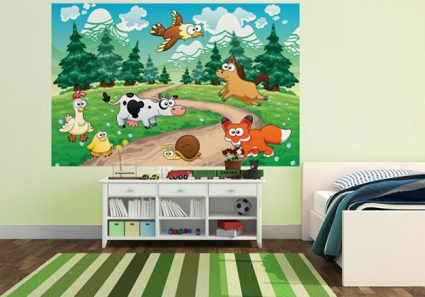 Fototapeta dziecięca - Lisek, konik i inne zwierzaki - 175x115 cm