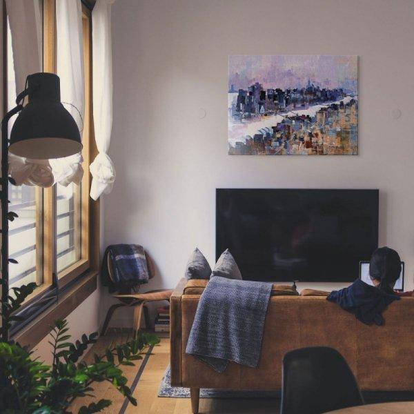 New York & Manhattan Island - Obraz na płótnie