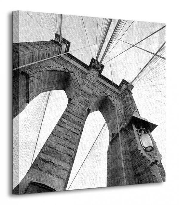 Obraz na płótnie - Brooklyn Bridge Wide Angle 3 - 40x40 cm