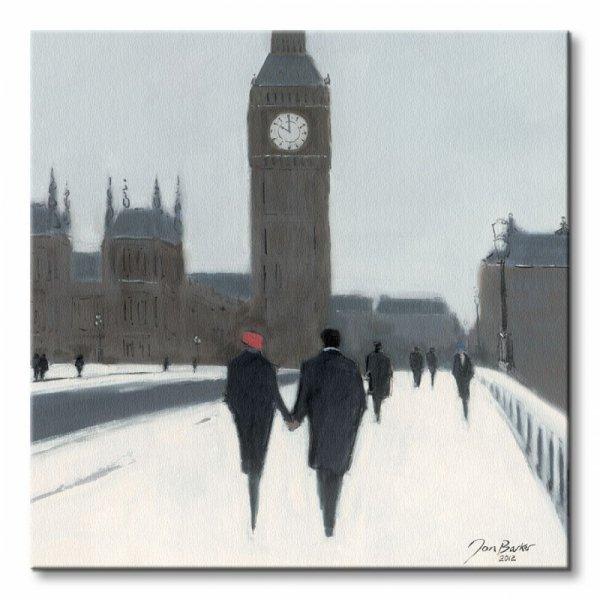 Big Ben, Red Beret and Snow - Obraz na płótnie