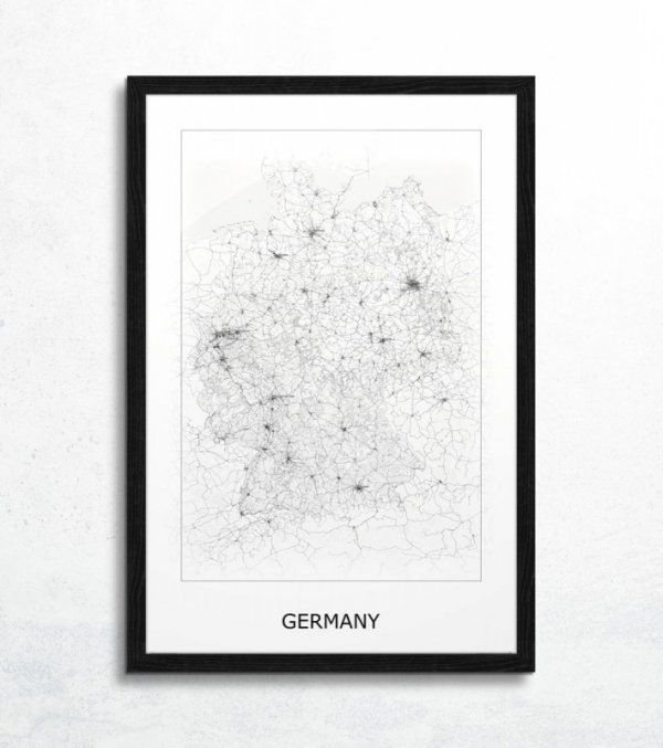Germany, black&white - mapa
