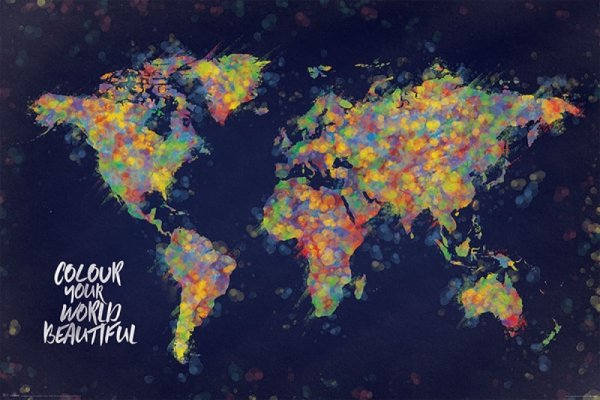 Kolorowa Mapa Świata - plakat