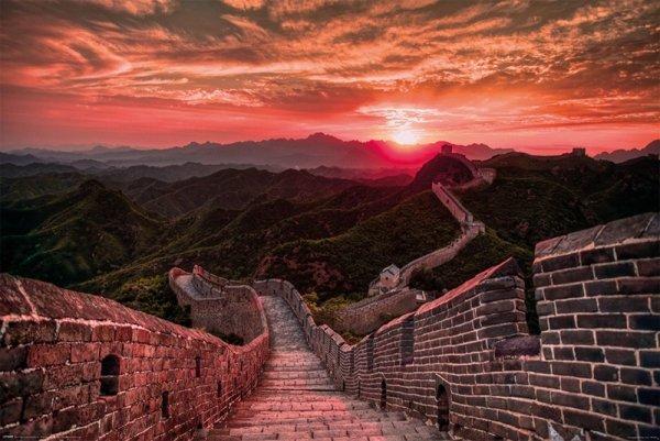 Plakat na ścianę - Wielki Mur Chiński - The Great Wall Of China, Sunset