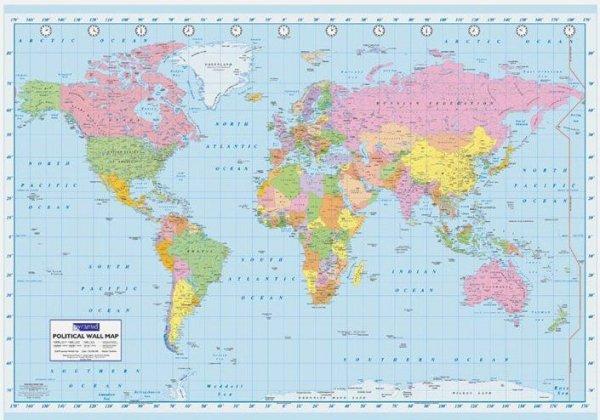 Mapa Świata Polityczna duża - plakat