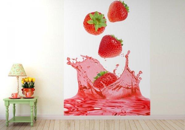 Fototapeta do kuchni - Truskawki w soku - 183x254 cm