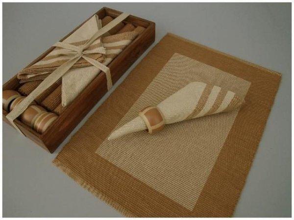 Podkładki na stół + Serwetki + Obrączki na serwetki x 4-szt - Brąz paski