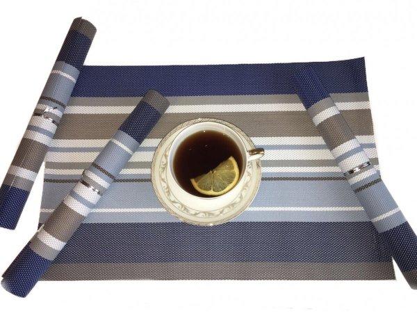 Podkładki na stół w niebiesko, białe pasy.