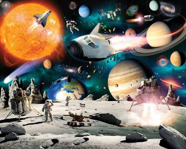 Fototapeta dla dzieci - Kosmiczna Przygoda 2 - 3D - Walltastic  - 243,8x304,8 cm - dekoracje domu - DecoArt24.pl