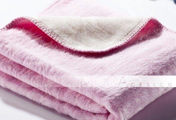 Kocyk dla dziecka - Różowo - Kremowy - 75x100 cm
