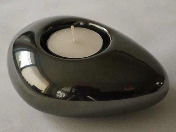 Świecznik - Grafitowy - Ceramika - 12cm