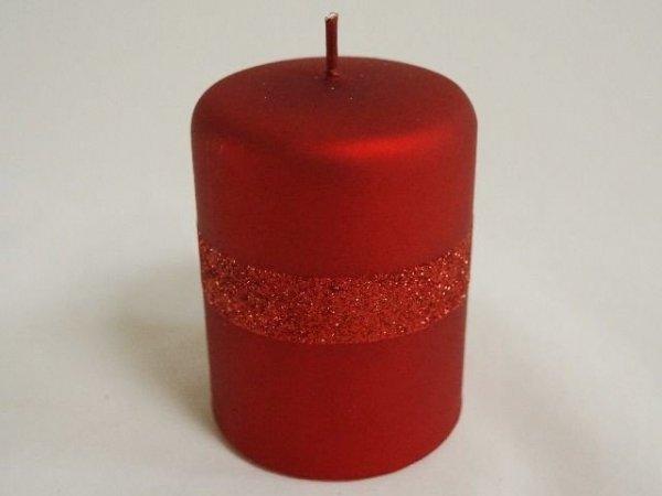 Świeca ozdobna - Czerwień - Walec - 7x10cm