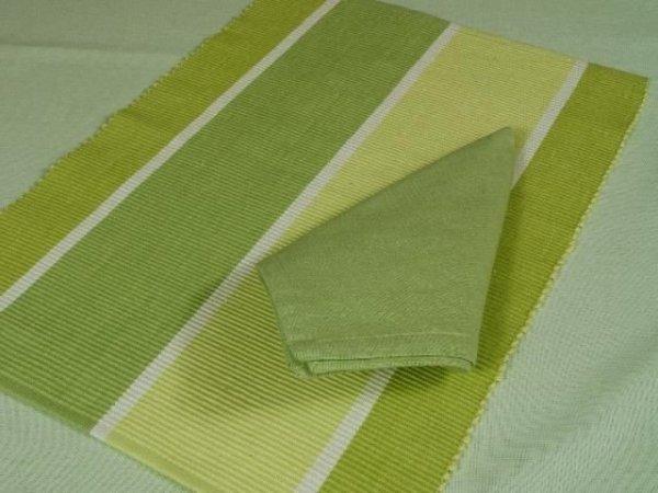 Podkładki na stół + Serwetki x 6-szt - Limonka 100 % Bawełny