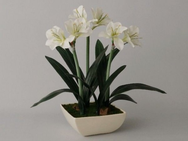 Sztuczny Amarylis - Biały - W doniczce - 45x75cm - decoart24.pl