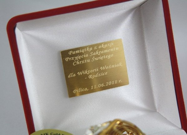 Kołyska Swarovski+Etui+GRAWER Prezent Roczek Chrzest