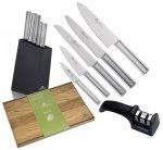 Noże Gerlach 983 Ambiente Silver zestaw noży + blok + Deska Gerlach Natur 30x24 cm + Ostrzałka Gerlach dwufazowa