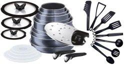 Zestaw Tefal L23196 52 Ingenio Elegance + pokrywy szklane + pokrywa do smażenia + akcesoria kuchenne BIENVENUE | 27 PCS