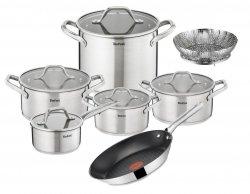 Garnki 10 części Tefal Hero + Patelnia Tefal Duetto 24 cm E825SC/A70404 + koszyk do gotowania na parze