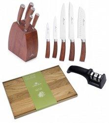Noże Gerlach 979 COLONIAL | zestaw 5 noży w bloku | ostrzałka Gerlach dwufazowa + Deska NATUR 30x24 cm