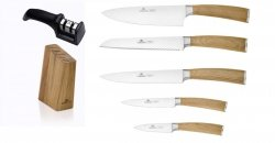 Noże Gerlach 320 Natur zestaw noży + blok + ostrzałka Gerlach dwufazowa