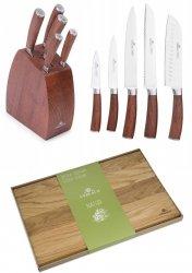 Noże Gerlach 979 COLONIAL | zestaw 5 noży w bloku | Deska NATUR 30x24 cm