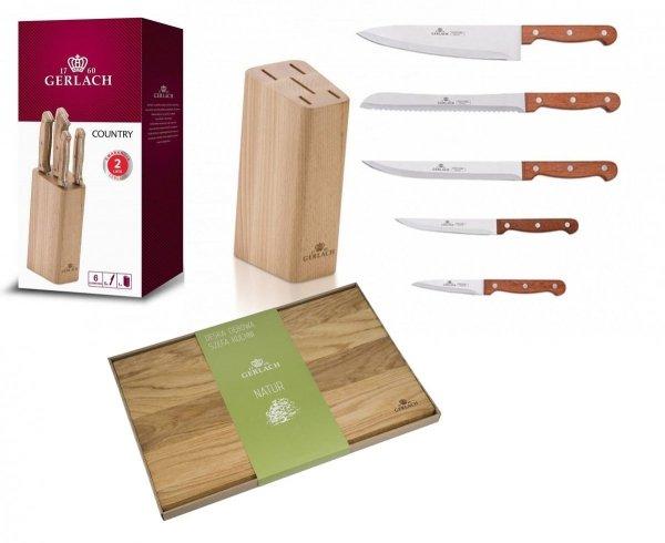 Noże Gerlach 959A Country 5 noży + blok *NOWOŚĆ*   Deska Gerlach Natur 30x24