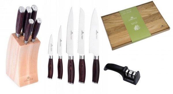 Noże Gerlach 991 Deco Wood + ostrzałka Gerlach dwufazowa + Deska Gerlach Natur 45x30 cm