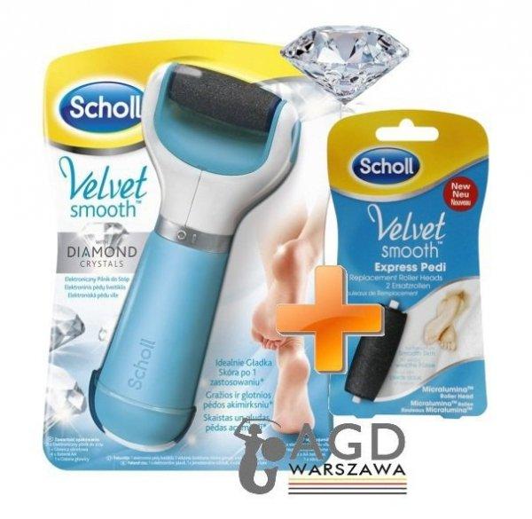 Pilnik elektroniczny do stóp Scholl Velvet Smooth™ Diamond elektroniczny do stóp + 2 uniwersalne rolki