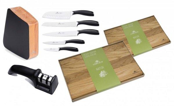 Zestaw noży Gerlach Loft - 5 noży + drewniany lakierowany blok + Ostrzałka Gerlach NK 606 + Deska Gerlach 30x24 cm + Deska Gerlach 45x30 cm