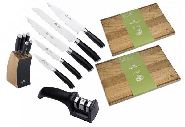Noże Gerlach 991A Deco Black 5x nóż + blok   NOWY MODEL + Deska Gerlach 30x24 i 45x30 + ostrzałka Gerlach dwufazowa