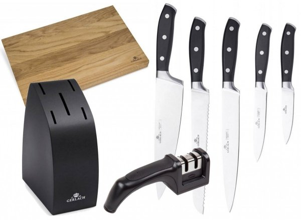 Noże Gerlach 951 Fusion | 5 noży + blok | ostrzałka Gerlach dwufazowa | Deska Natur 30x24 cm