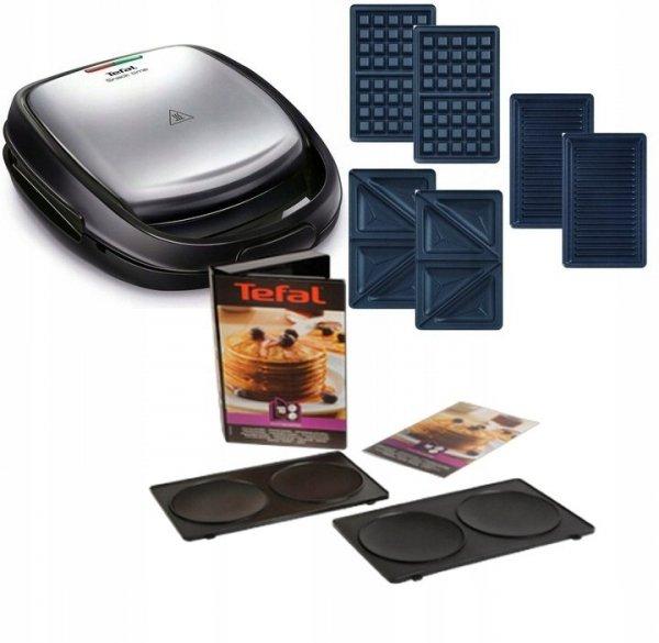 Opiekacz Tefal SW 342D 12 Snack Time 3w1 + płyty do naleśników amerykańskich   Płyta kanapkowa, gofrowa, panini, pancakes   SW342D/XA8010